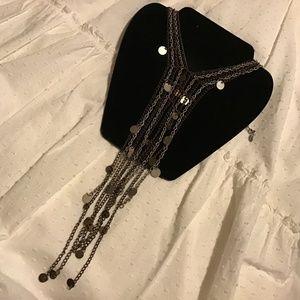 Free people multi color chains necklace boho euc